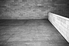 Tiled wall. With a blank white bricks, black and white image Stock Photo