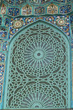 Tiled wall. Fragment of a tiled wall with Arabic mosaic of an ancient mosque in Saint Petersburg, Russia Stock Photos