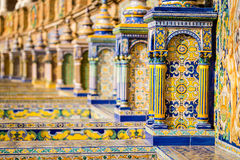 The tiled walls of Plaza de Espana. Seville. Spain Royalty Free Stock Photo