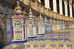The tiled walls of Plaza de Espana Spain Square in Seville, Andalusia Royalty Free Stock Photo