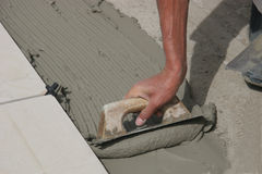 Tiler. At work Stock Photo