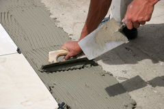 Tiler. At work Royalty Free Stock Photos