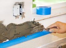 Tiler Applies Mortar Stock Photos