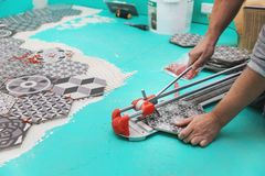 Tiler cutting tile with cutter Stock Photos