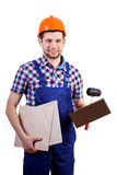 Tiler with equipment Stock Photo