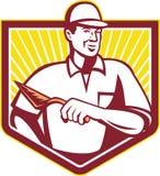 Tiler Plasterer Mason Masonry Worker Retro stock illustrationer
