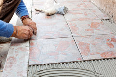 Tiler to work with tile flooring Royalty Free Stock Images