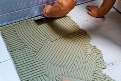 Tiler at work Stock Image