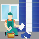 Tiler.Work to lay down tile. Flat icon. Royalty Free Stock Photo