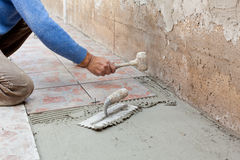Tiler works with flooring. Royalty Free Stock Image