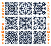 Tiles borders of floral damask vector ornament. Vector tiles and borders of damask floral brocade ornament. Vector flourish frames elements of ornate baroque Royalty Free Stock Photo