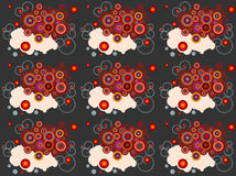 Tiles clip art abstract background. Clip art abstract background with swirls and  colored  circles for paper,surface textures, fabric textile Royalty Free Stock Images