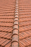 Tiles. Corner of a tiled roof Royalty Free Stock Photography