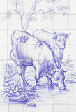 Tiles with cows Stock Images
