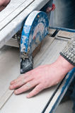 Tiles cutting machine detail Stock Images