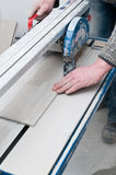 Tiles cutting machine detail Royalty Free Stock Photos