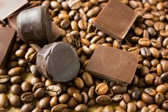 Tiles of dark chocolate candy coffee beans Stock Photo