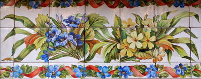 Tiles decorated with two bouquets Stock Images