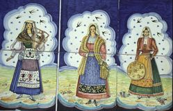 Tiles depicting sicilian women. Stock Image