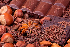 Tiles of different chocolate in the chocolate chip Royalty Free Stock Images