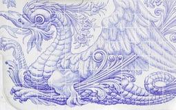 Tiles with dragon Stock Image