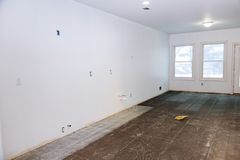 Tiles floor, prepare for preparation for the installation of tiles in the kitchen in a new home. Tiles floor, prepare for working tiles preparation for the Royalty Free Stock Photos