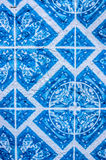 Tiles with geometric shapes typical of Portugal. Tiles with typical geometric blue and white shapes of the houses in Portugal Stock Image