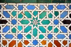 Tiles glazed, Alcazar Royal palace in Sevilla, Spain. Moorish Art, glazed tile skirting board, palace royal Alcazar in Seville, Andalusia, Spain Royalty Free Stock Photography