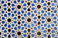 Tiles glazed, Alcazar Royal palace in Sevilla, Spain. Moorish Art, glazed tile skirting board, palace royal Alcazar in Seville, Andalusia, Spain Stock Images