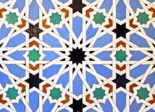 Tiles glazed, Alcazar Royal palace in Sevilla, Spain. Moorish Art, glazed tile skirting board, palace royal Alcazar in Seville, Andalusia, Spain Stock Photography