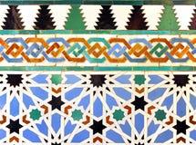 Tiles glazed, Alcazar Royal palace in Sevilla, Spain. Mudejar Art, glazed tile skirting board, palace royal Alcazar in Seville, Andalusia, Spain Royalty Free Stock Image