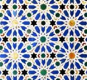 Tiles glazed, azulejos, Alcazar Royal palace in Sevilla, Spain. Moorish Art, glazed tile skirting board, palace royal Alcazar in Seville, Andalusia, Spain Stock Image