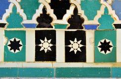 Tiles glazed, azulejos, Alcazar in Sevilla, Spain. Arab Art, detail of glazed tile skirting board, palace royal Alcazar in Seville, Andalusia, Spain Royalty Free Stock Photos