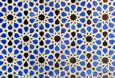 Tiles glazed, azulejos, Alcazar in Sevilla, Spain. Arab Art, detail of glazed tile skirting board, palace royal Alcazar in Seville, Andalusia, Spain Stock Photography