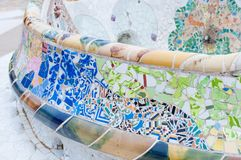 Tiles of Guell Park in Barcelona. Park Guell in Barcelona, Spain Royalty Free Stock Image