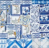 Tiles hodgepodge. Chaotic portuguese tiles (Azulejos) at a facade in Lisbon, Portugal Royalty Free Stock Photo
