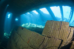 Tiles in the hold of a large shipwreck Stock Photo