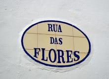 Tiles with the inscription of Rua das Flores Royalty Free Stock Photos