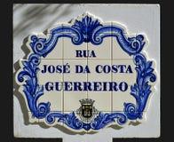 Tiles with the inscription of Rua Jose Da Costa Guerreiro Stock Images