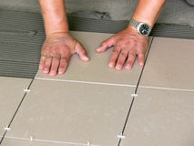 Tiles installation Stock Photos