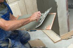 Tiles installation. In home renovation work stock images