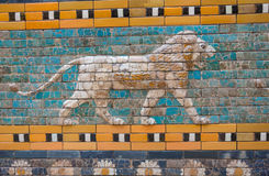 Tiles Pattern of Babylon`s The Ishtar Gate inside The Pergamon Museum Pergamonmuseum, Berlin, Germany - 6 Feb 2016. The museum is visited by approximately 1 stock photos