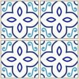Tiles pattern, Spanish or Portuguese tile blue background, Geometric designs Stock Photos