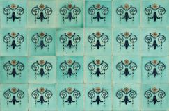 Tiles Peranakan style. Seamless ornamental Peranakan style blue tiles background Stock Image