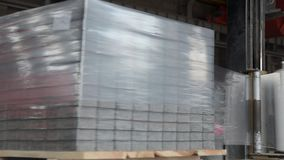 Tiles piled in pallets. Warehouse paving slabs in the factory for its production. Packaging products. Prores codec. HD stock video footage
