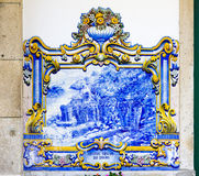 Tiles in Pinhao. Tiles (azulejos) at railway station of Pinhao, Douro Valley, Portugal Stock Photography