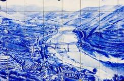Tiles at Pinhao. Tiles (azulejos) at railway station of Pinhao, Douro Valley, Portugal Stock Photos