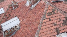 Tiles on the roof of a house stock video footage