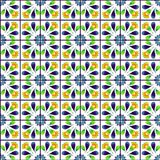 Watercolor seamless pattern with tiles vector illustration