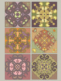 Tiles set with vintage decorative patterns. Vector illustration Stock Photography
